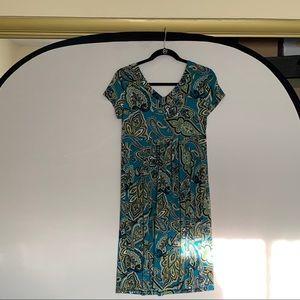 INC Paisley V-Neck Dress Size M
